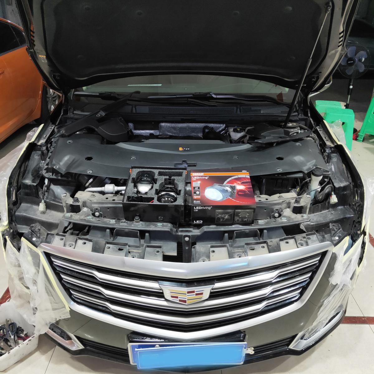凯迪拉克XTS车灯改装 欧司朗LEDrivingCBI透镜 重庆专业车灯改装