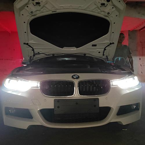 宝马三系车灯改装升级四LED双光透镜LED车灯改装